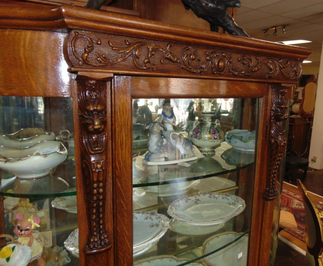 Antique Carved Oak Bow Front China Cabinet - 4