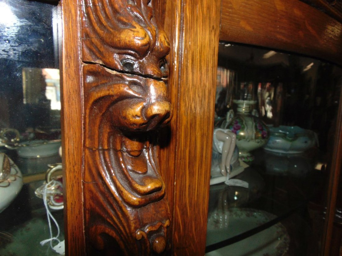 Antique Carved Oak Bow Front China Cabinet - 5