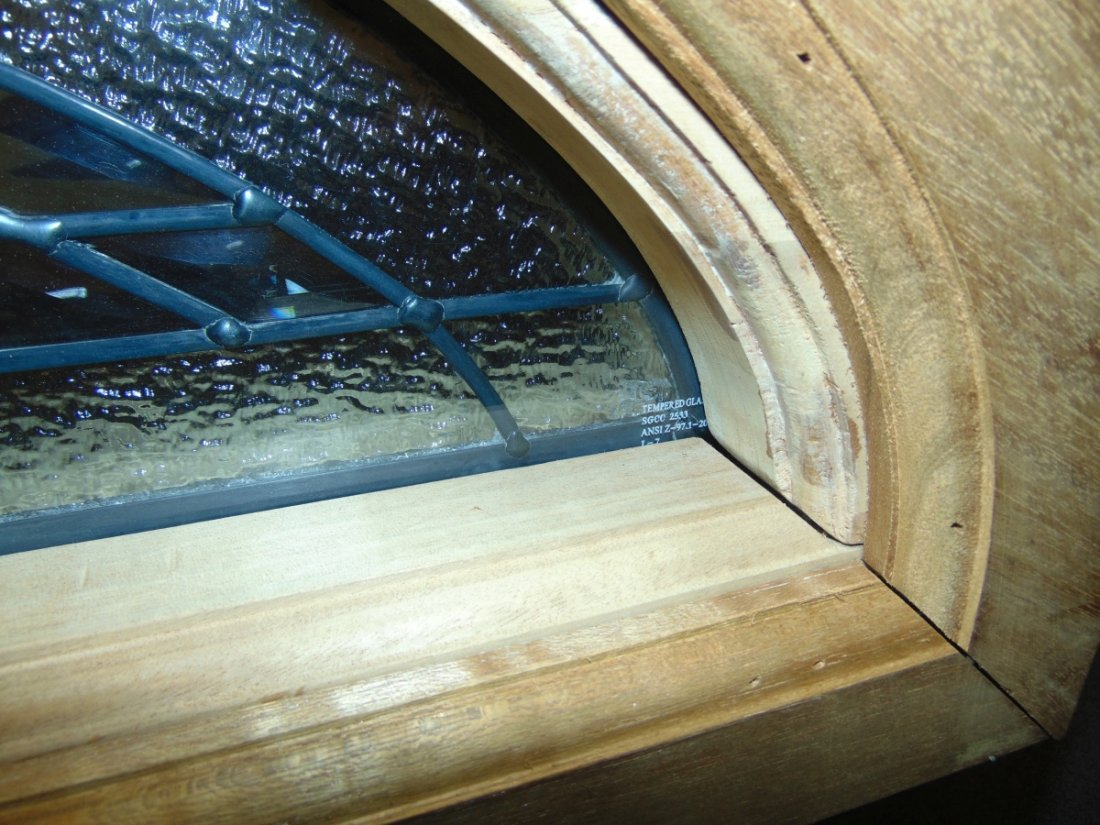 Mahogany and Leaded Glass Window Transom - 10