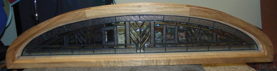 Mahogany and Leaded Glass Window Transom