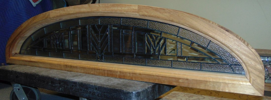 Mahogany and Leaded Glass Window Transom - 5