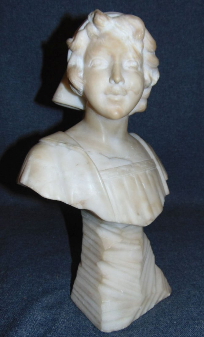 Antique Carved Marble Bust of a Woman