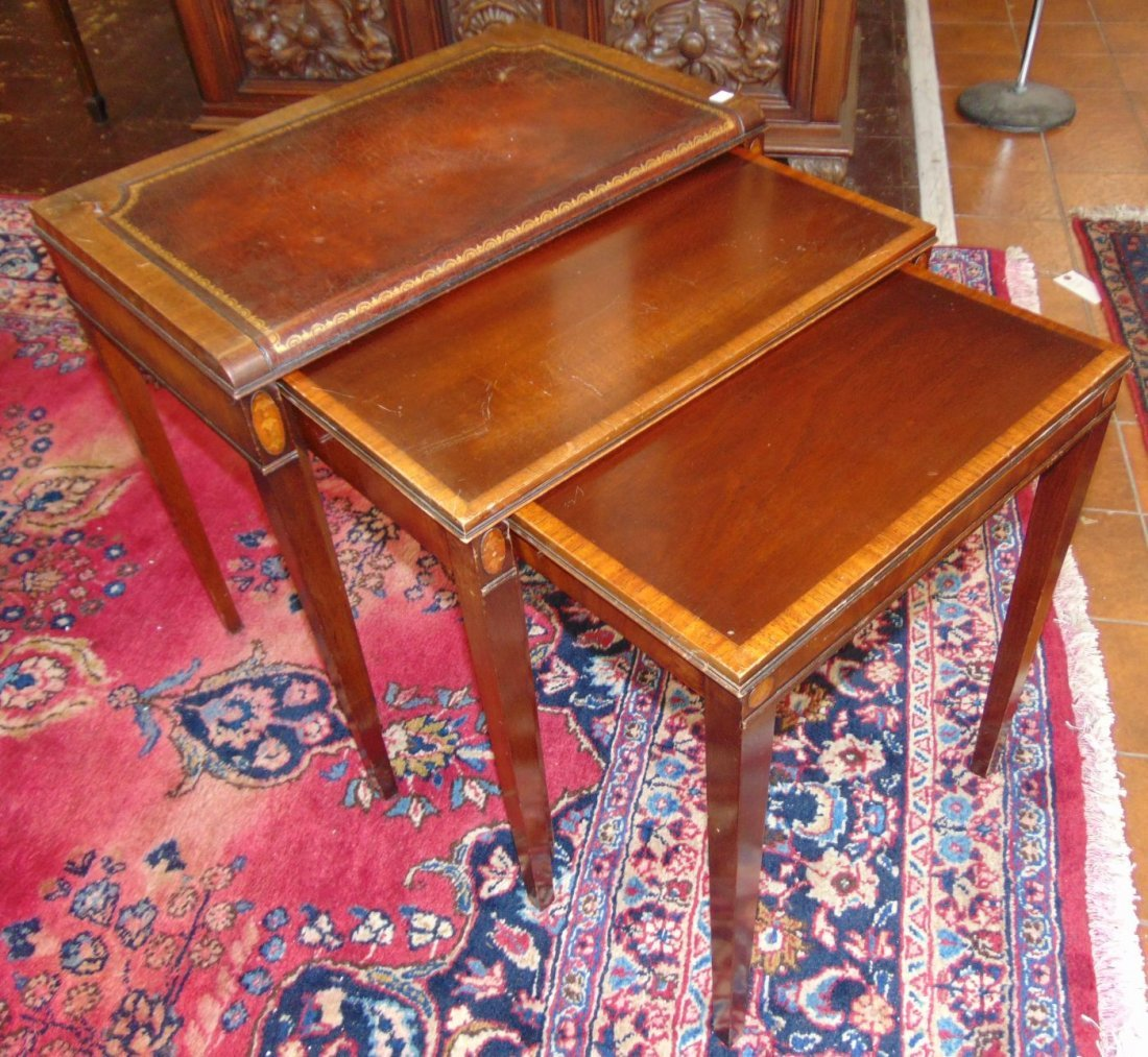 Vintage Set of 3 Inlaid Mahogany Stack Tables - 2