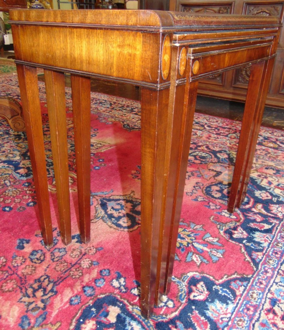 Vintage Set of 3 Inlaid Mahogany Stack Tables - 5