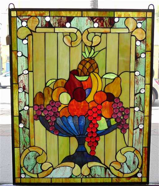 Custom Stained Glass Hanging Window Panel