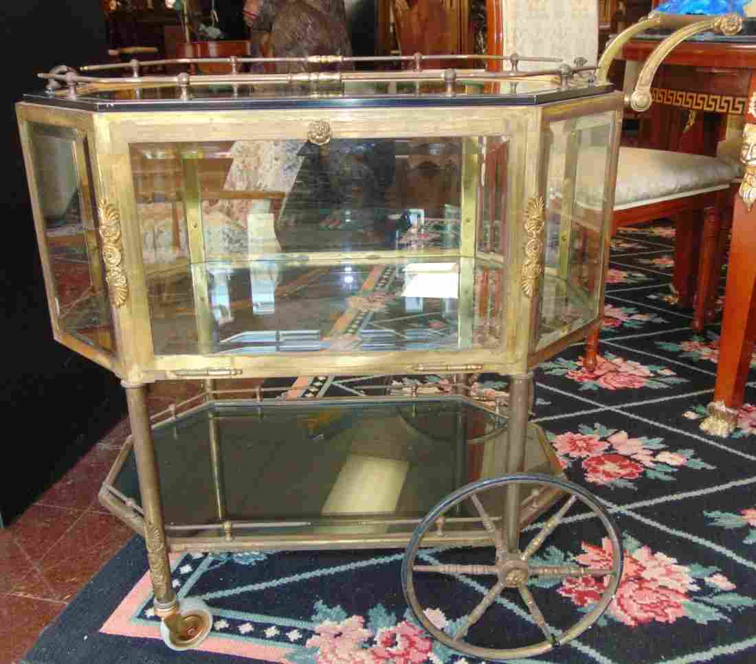 Antique French Octogonal Glass Tea Cocktail Cart