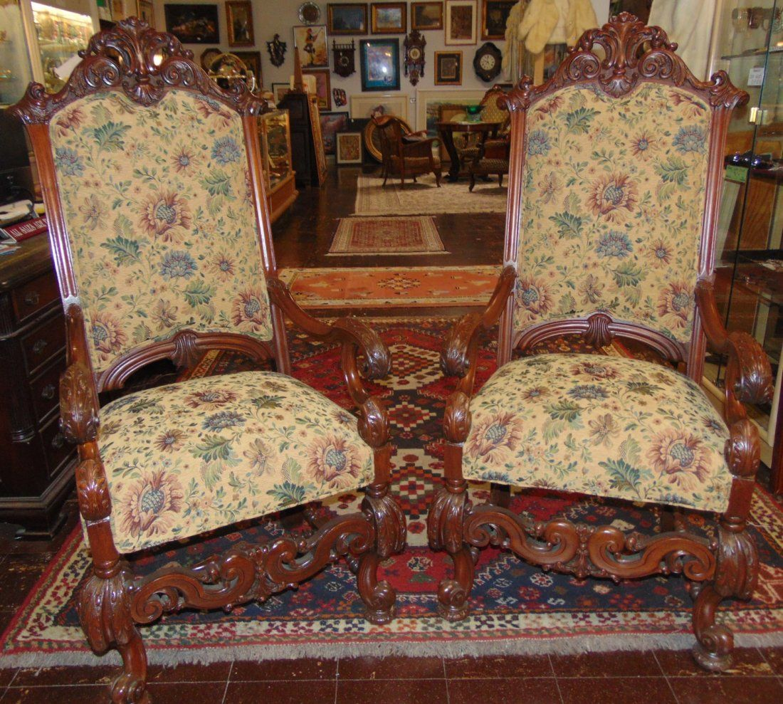 Pair (2) of Renaissance Style Carved Walnut Armchairs