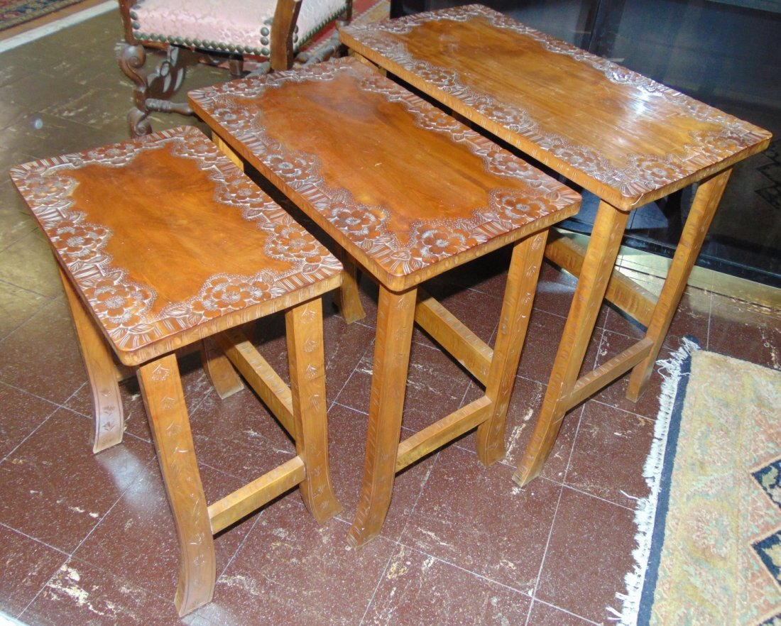 Set Of 3 Carved Wood Stack Tables