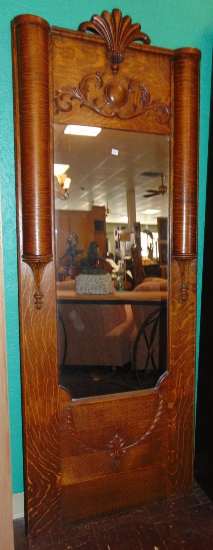 Antique Empire Style Tiger Oak Pier Hall Mirror