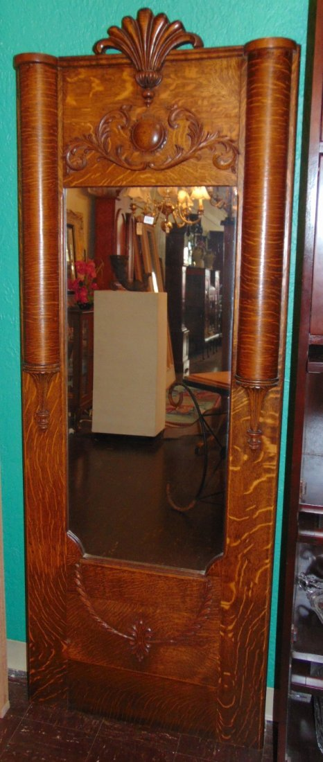 Antique Empire Style Tiger Oak Pier Hall Mirror - 2
