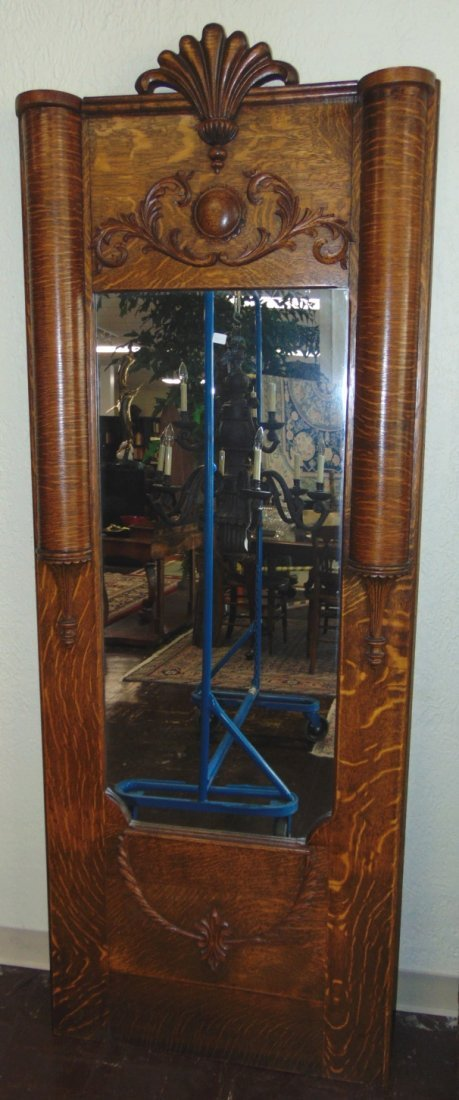 Antique Empire Style Tiger Oak Pier Hall Mirror - 6