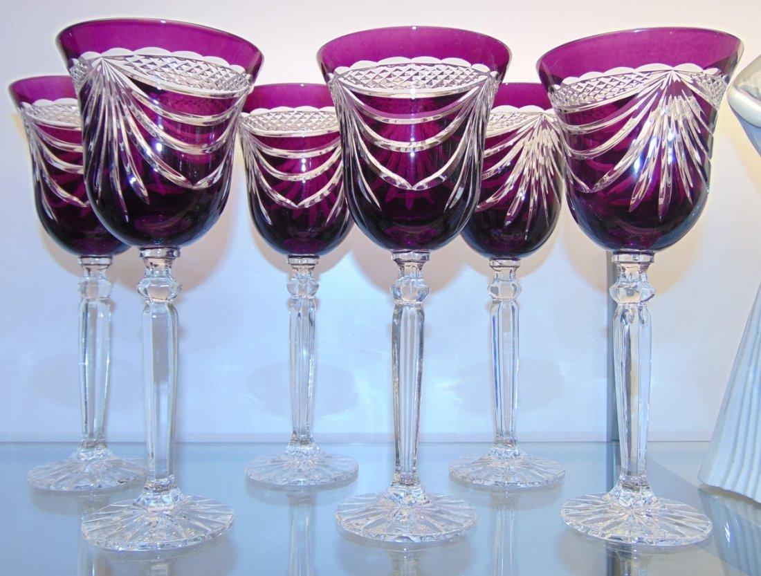 6 Amethyst Bohemian Cut to Clear Crystal Wine Glasses