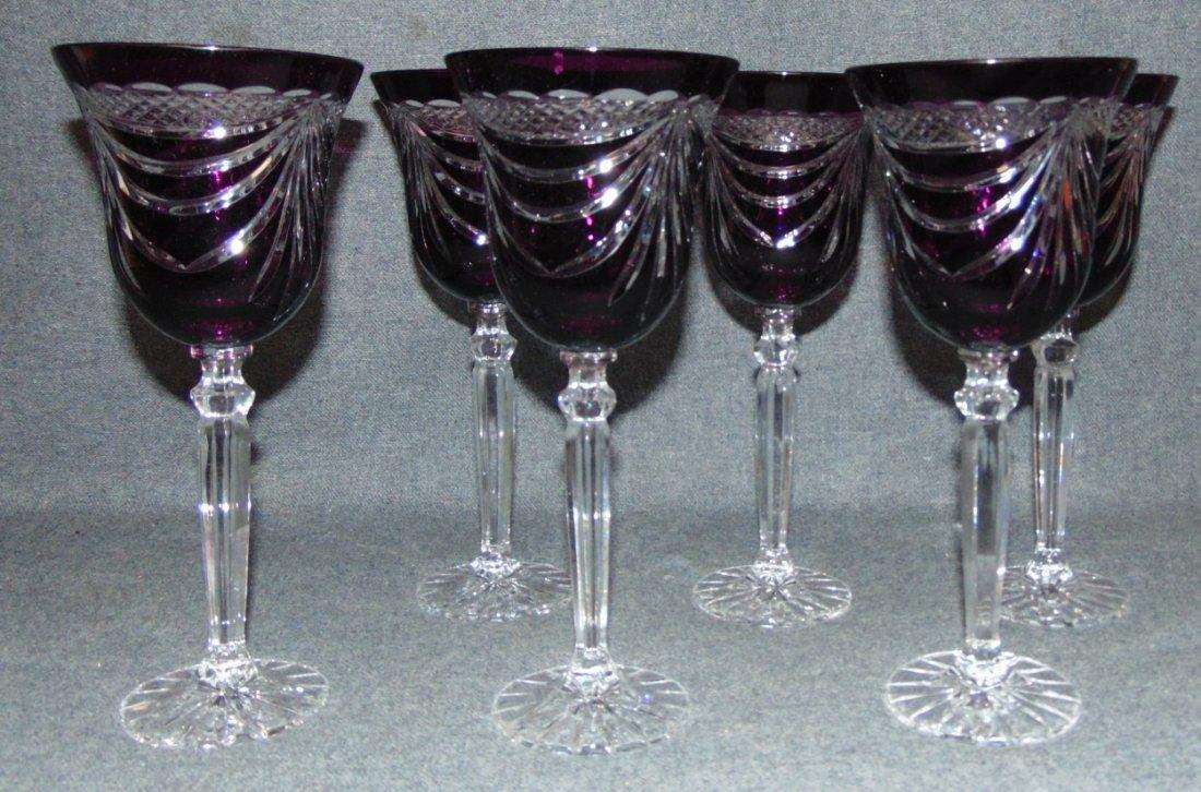6 Amethyst Bohemian Cut to Clear Crystal Wine Glasses - 2