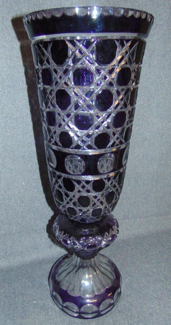 Large Amethyst Bohemian Cut Crystal Vase - 2