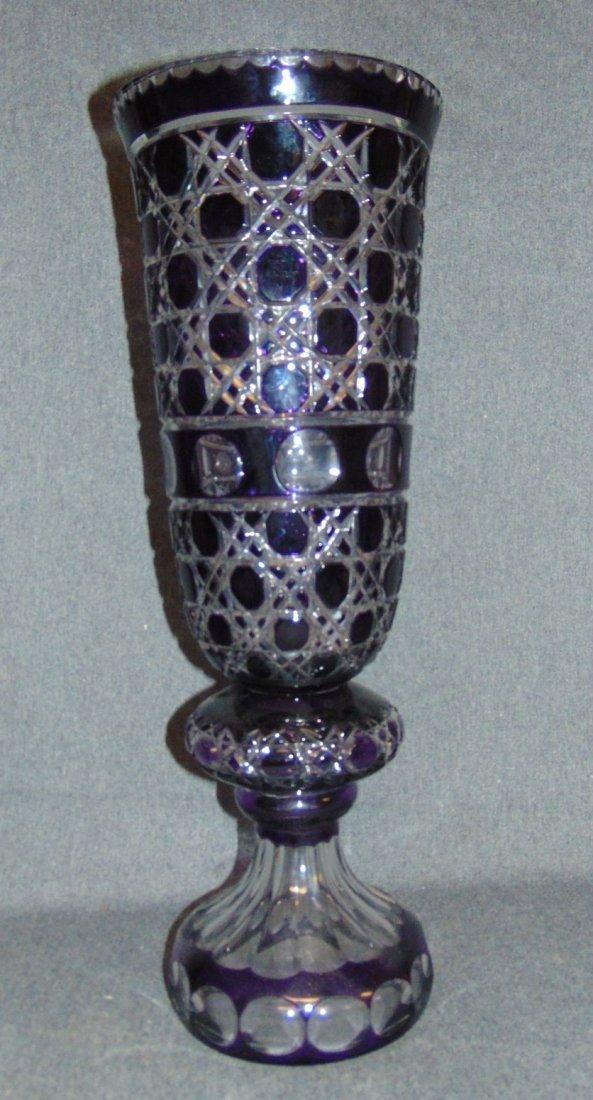 Large Amethyst Bohemian Cut Crystal Vase - 3