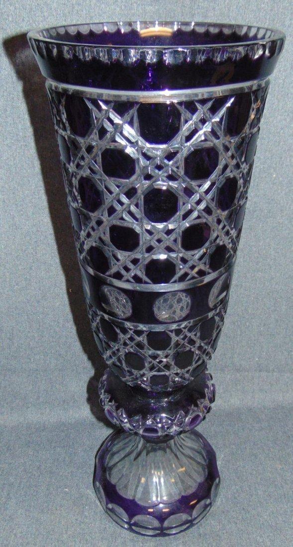 Large Amethyst Bohemian Cut Crystal Vase - 4