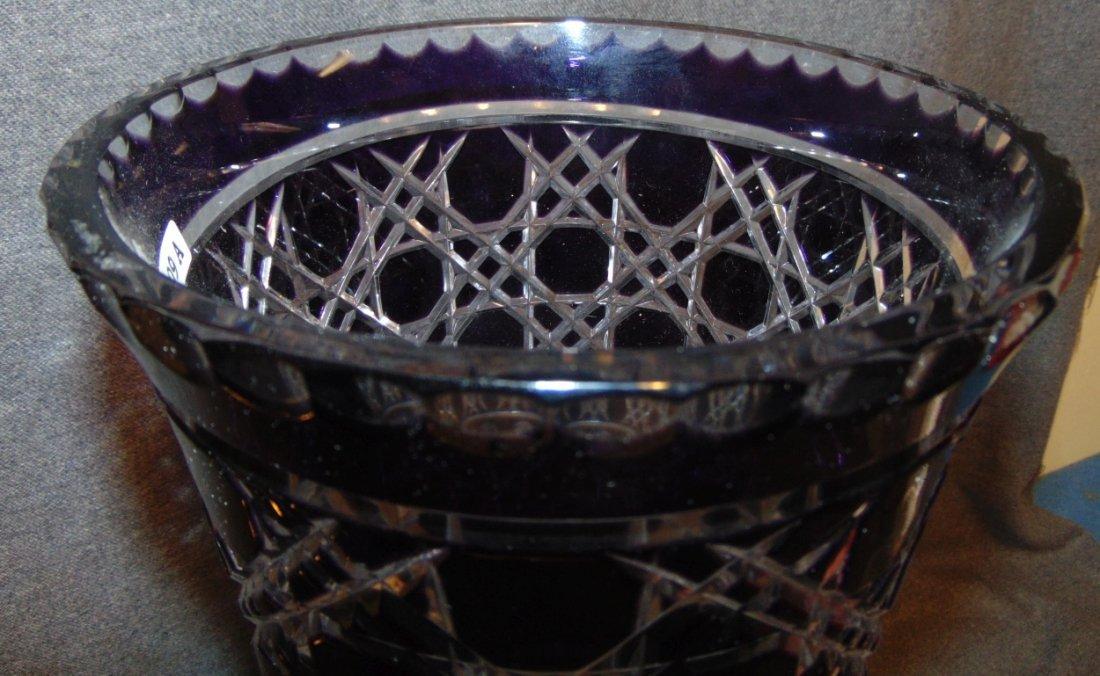 Large Amethyst Bohemian Cut Crystal Vase - 5