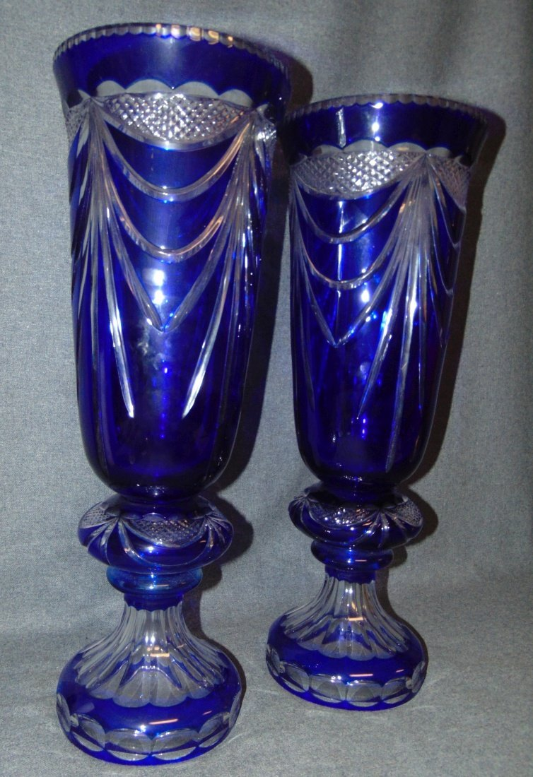 2 Large Cobalt Blue Bohemian Cut to Clear Crystal Vases - 4