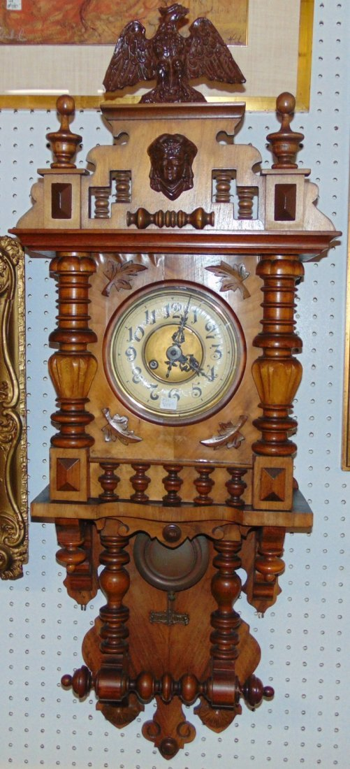 Antique European Wall Clock with Eagle
