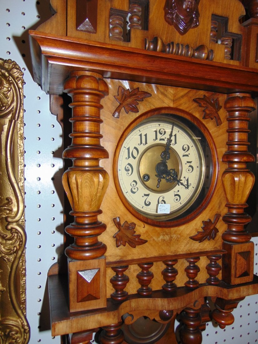 Antique European Wall Clock with Eagle - 2