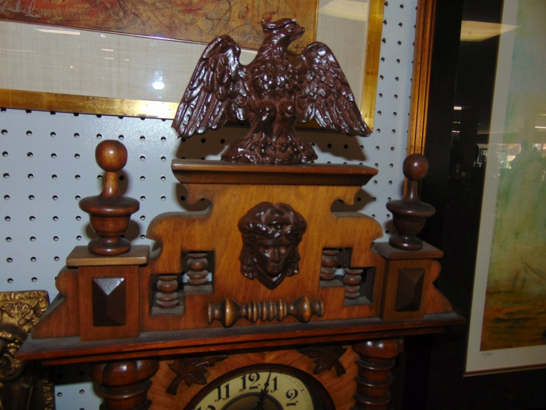 Antique European Wall Clock with Eagle - 4