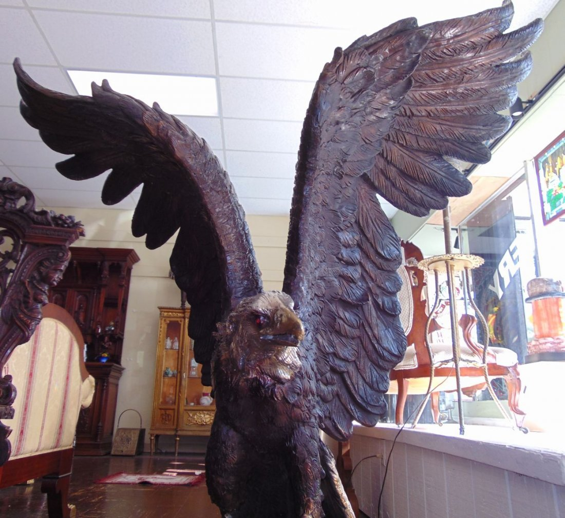 Life Size Bronze American Eagle Sculpture on Marble - 7