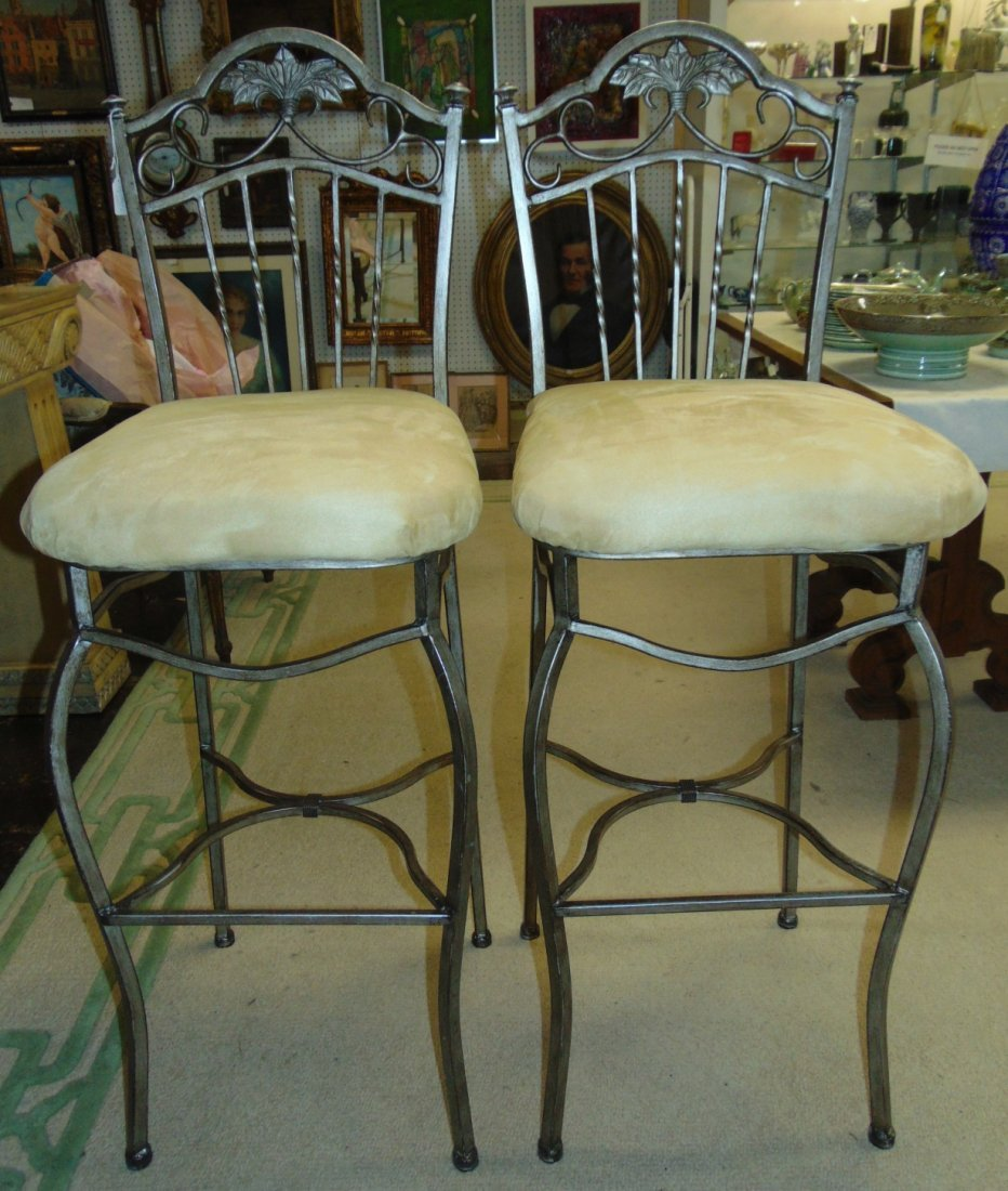 Pair (2) of Tall Wrought Iron Bar Stools