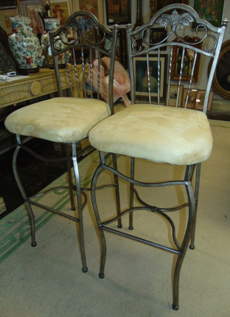 Pair (2) of Tall Wrought Iron Bar Stools - 2