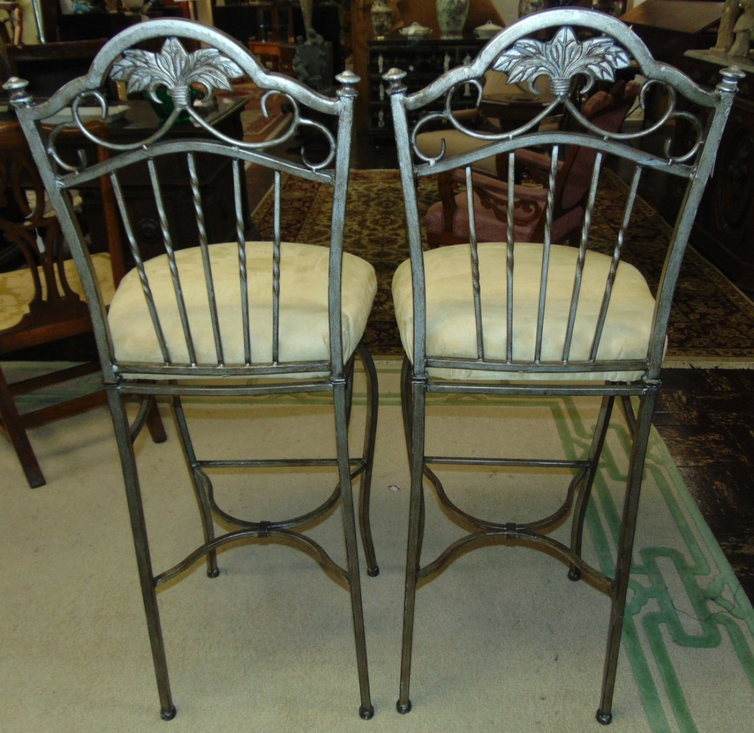 Pair (2) of Tall Wrought Iron Bar Stools - 3