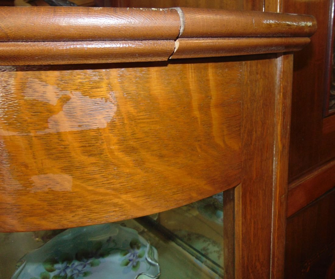 Antique Carved Oak Bow Front China Cabinet - 6