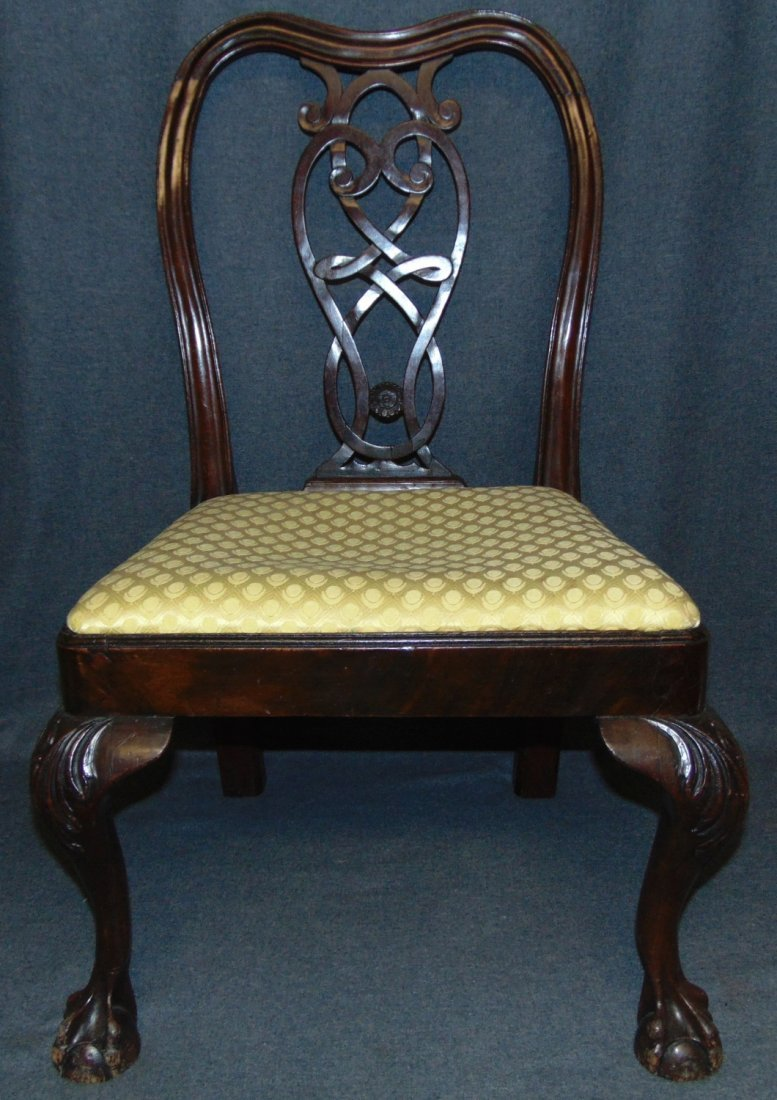 Vintage Childs Size Mahogany Chippendale Side Chair