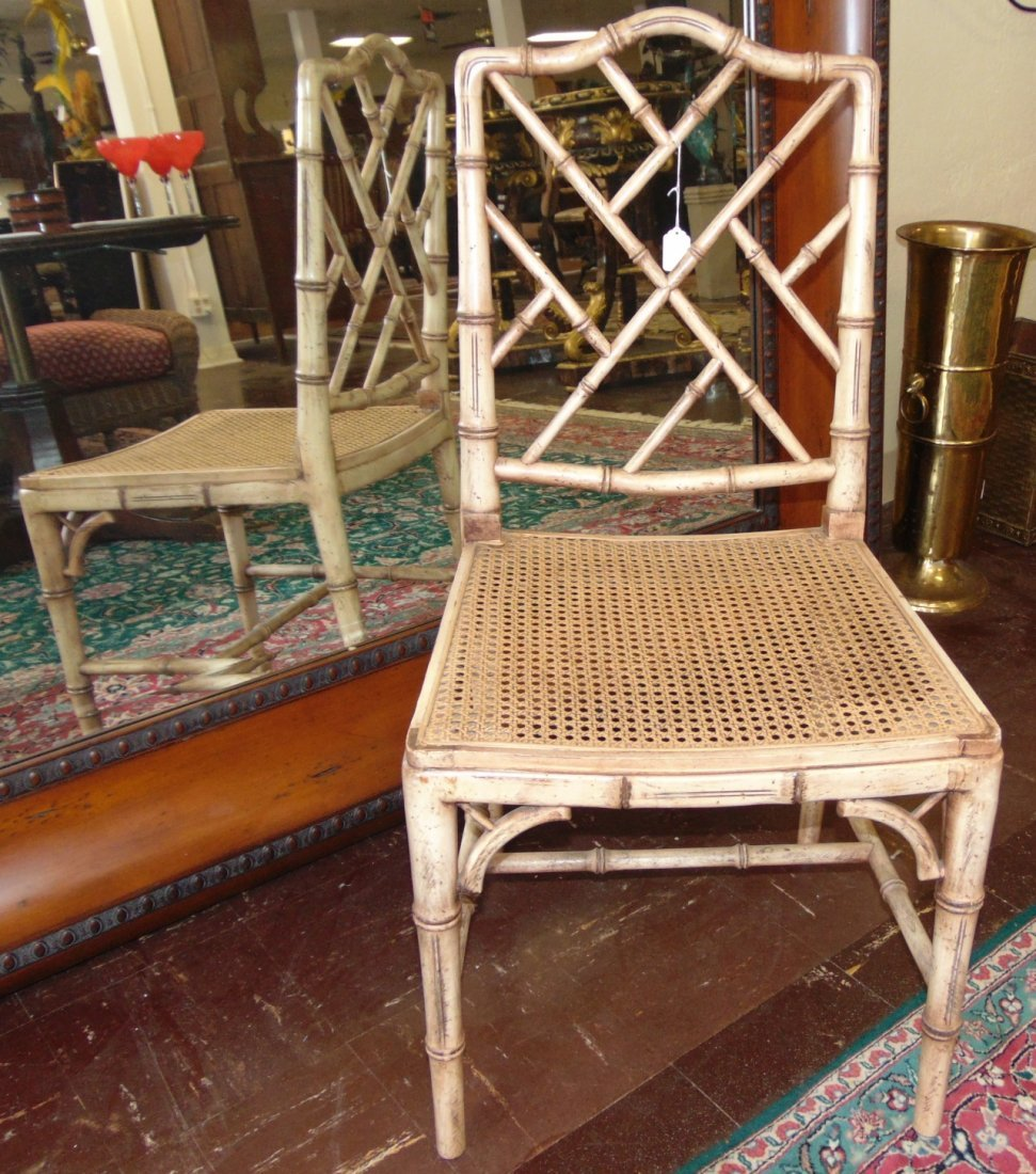 Mid Century Chinese Chippendale Cane Faux Bamboo Chair