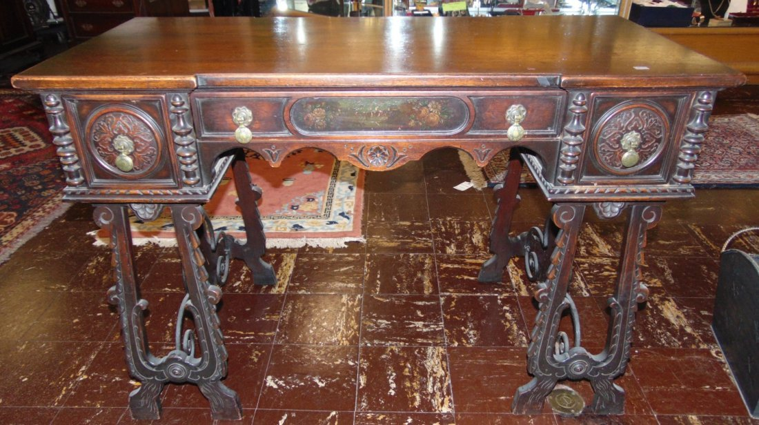 Antique 3 Drawer Writing Desk with Wrought Iron Base