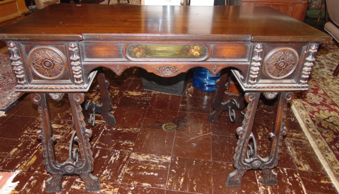 Antique 3 Drawer Writing Desk with Wrought Iron Base - 2