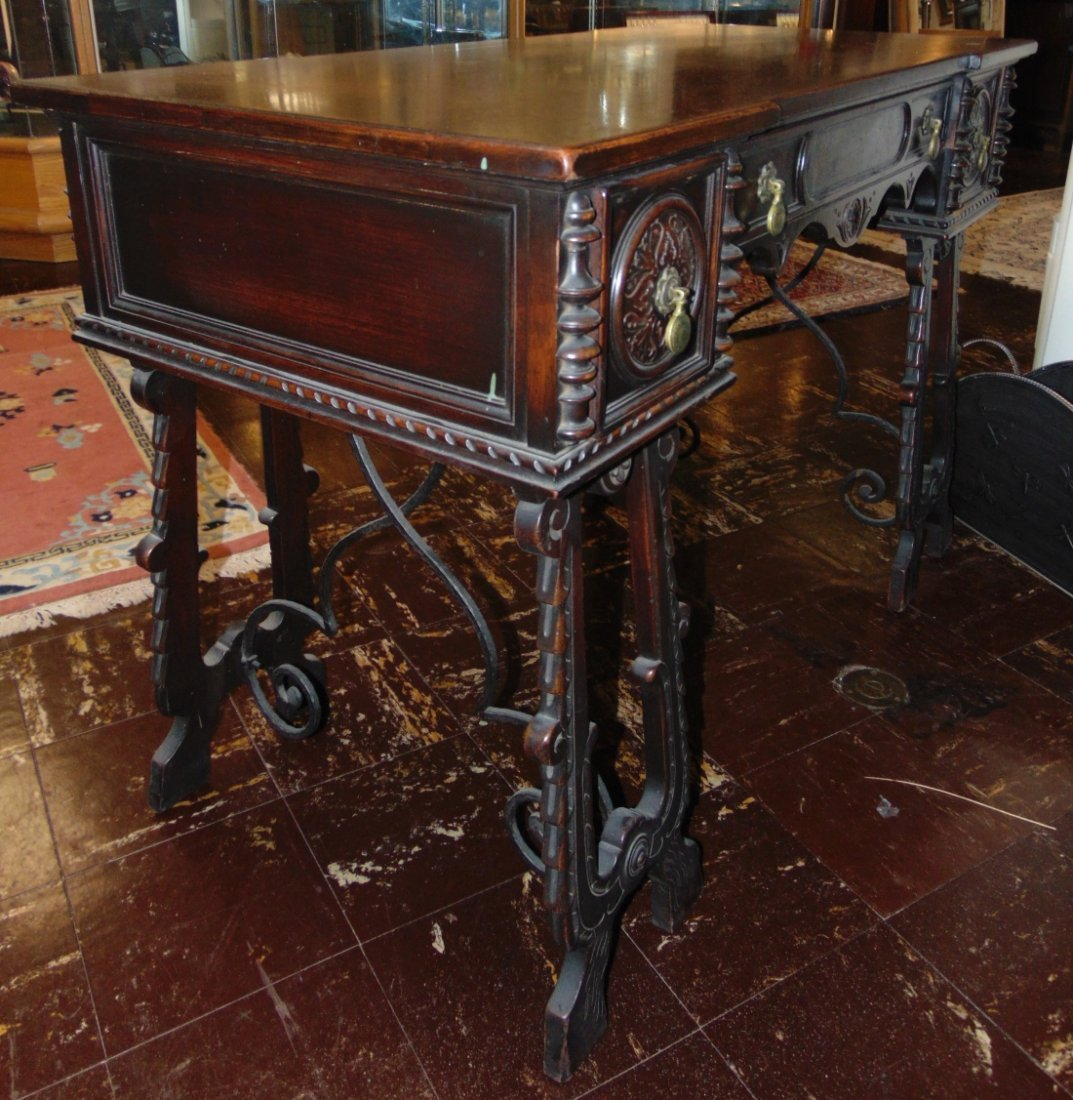 Antique 3 Drawer Writing Desk with Wrought Iron Base - 3