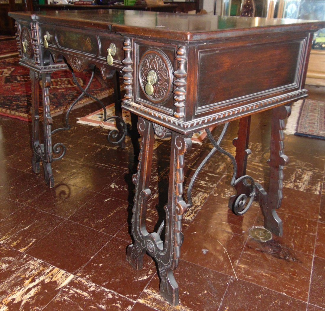 Antique 3 Drawer Writing Desk with Wrought Iron Base - 4