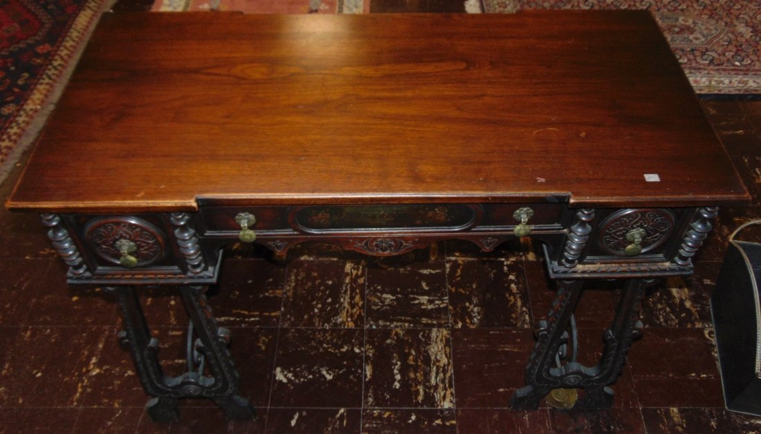 Antique 3 Drawer Writing Desk with Wrought Iron Base - 5