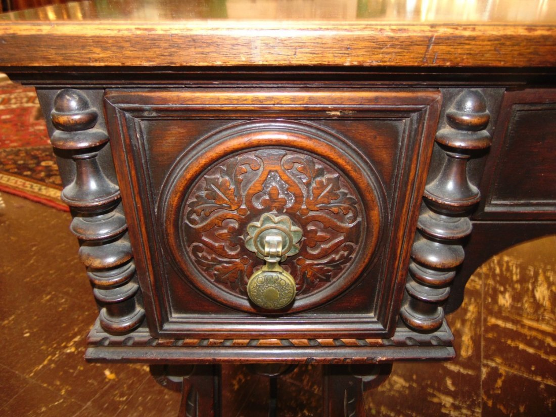 Antique 3 Drawer Writing Desk with Wrought Iron Base - 6