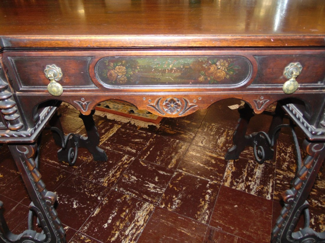 Antique 3 Drawer Writing Desk with Wrought Iron Base - 7