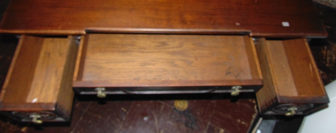 Antique 3 Drawer Writing Desk with Wrought Iron Base - 9