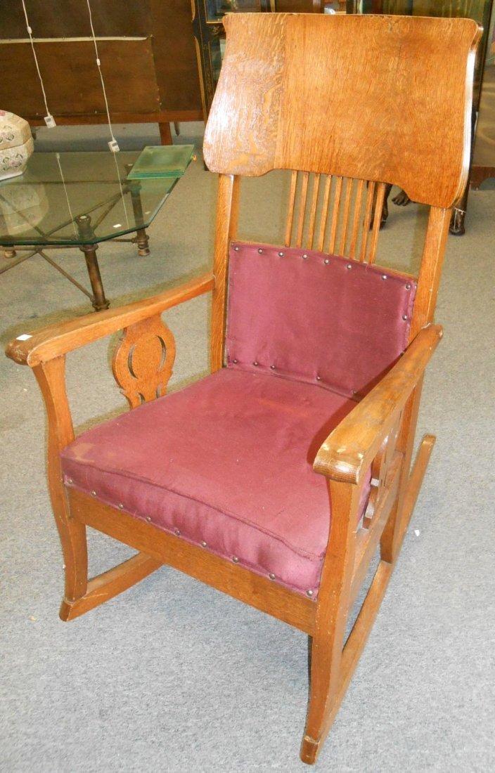 Antique Golden Oak Rocking Chair - 2