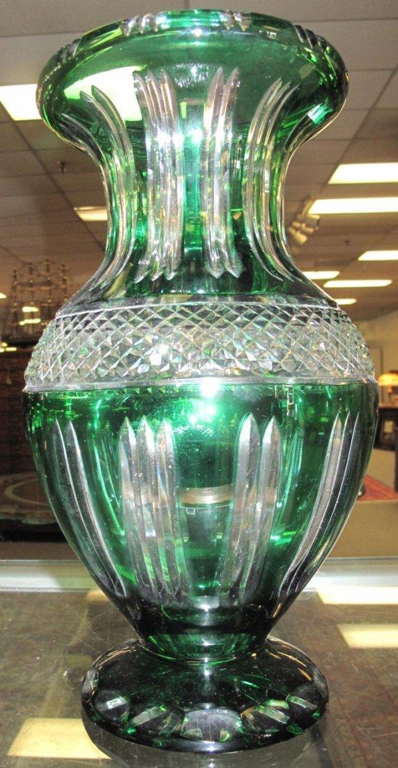 Emerald Green European Cut Crystal Vase