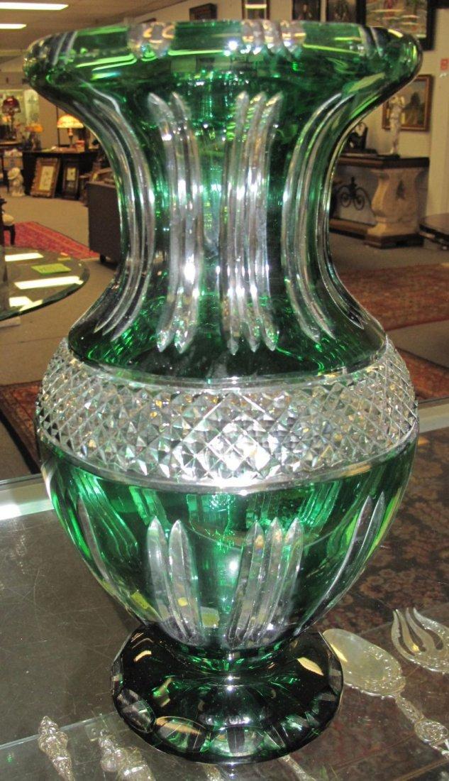 Emerald Green European Cut Crystal Vase - 2