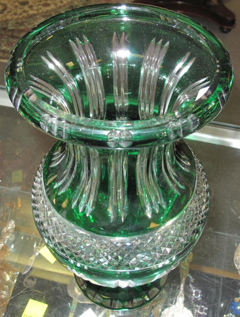 Emerald Green European Cut Crystal Vase - 3