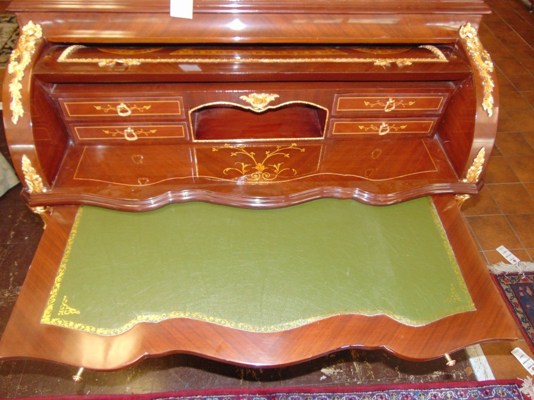 Empire Style Cylinder Top Desk with Gilt Bronze Mounts - 6