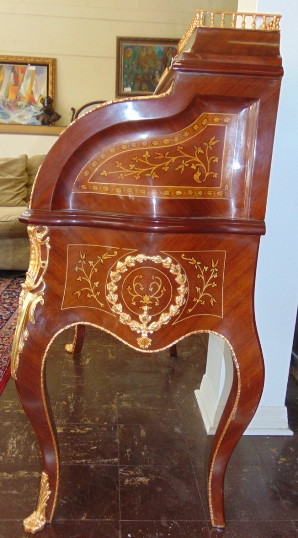 Empire Style Cylinder Top Desk with Gilt Bronze Mounts - 8