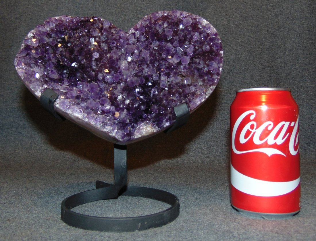 Large Heart Shaped Amethyst Crystal Geode on Iron Stand