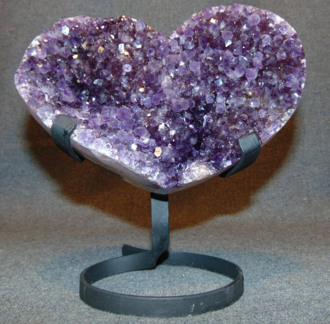 Large Heart Shaped Amethyst Crystal Geode on Iron Stand - 2