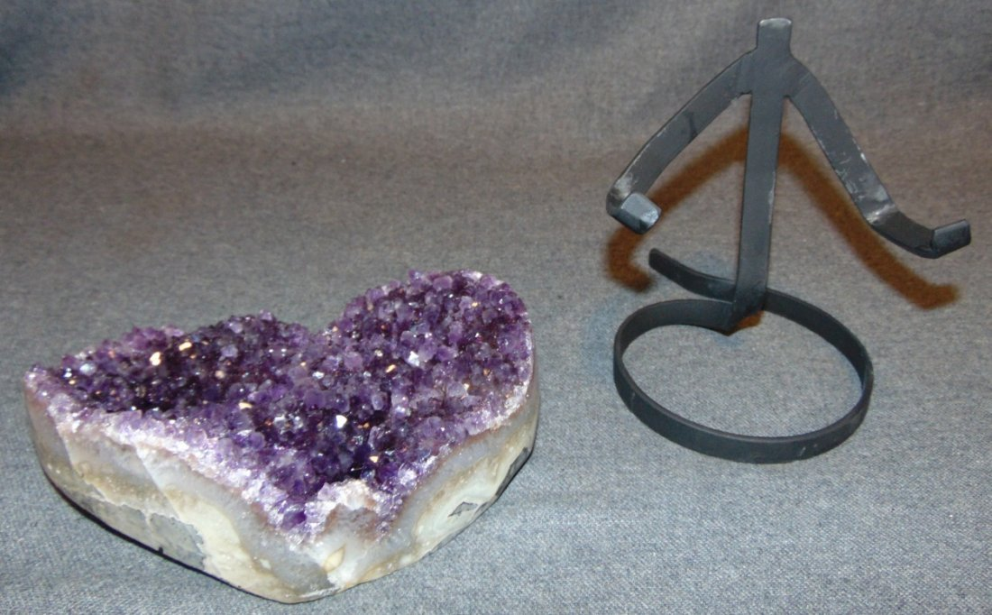 Large Heart Shaped Amethyst Crystal Geode on Iron Stand - 3