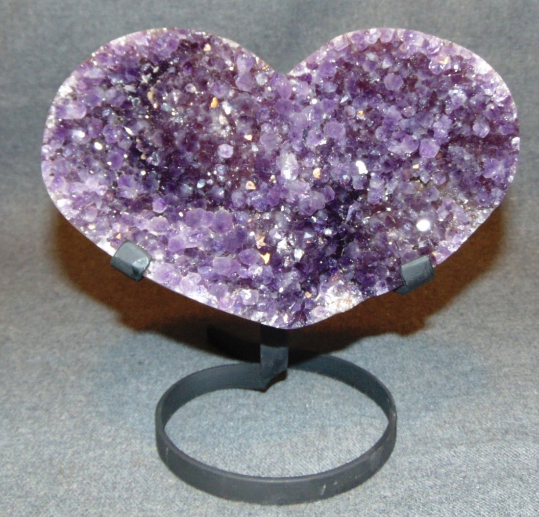Large Heart Shaped Amethyst Crystal Geode on Iron Stand - 4